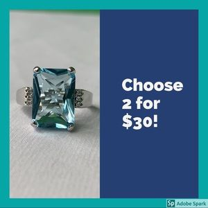 NEW Aquamarine Silver Ring Size 6 2/$30